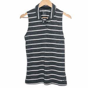 Nike Dri-Fit Sleeveless Polo Shirt Grey Striped M